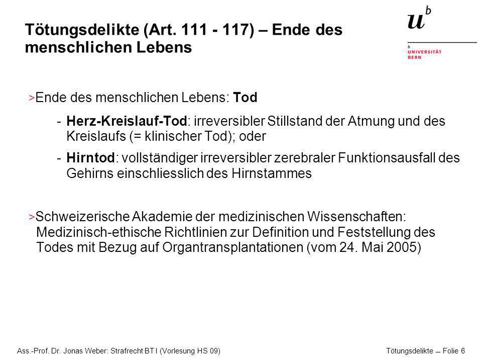 Tötungsdelikte (Art. 111 - 117) – Ende des menschlichen Lebens