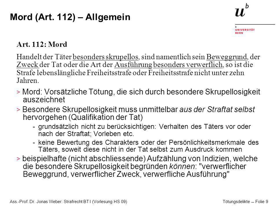 Mord (Art. 112) – Allgemein Art. 112: Mord