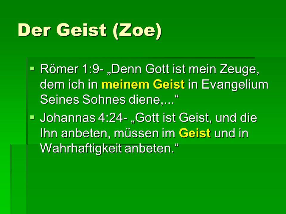 """Der Geist (Zoe) Römer 1:9- """"Denn Gott ist mein Zeuge, dem ich in meinem Geist in Evangelium Seines Sohnes diene,..."""