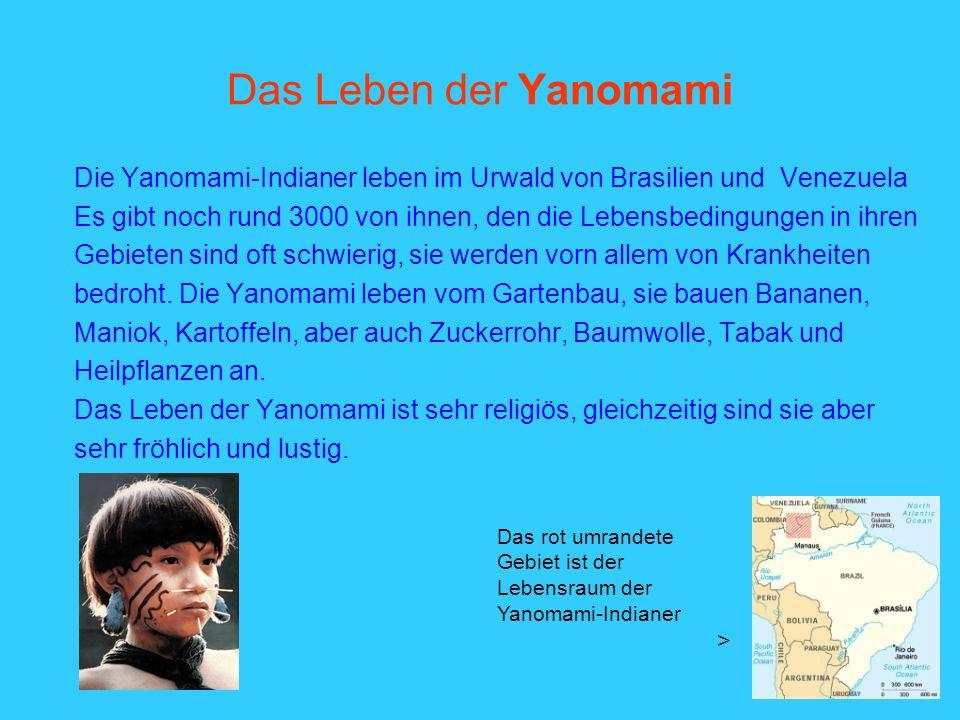 Das Leben der Yanomami Die Yanomami-Indianer leben im Urwald von Brasilien und Venezuela.