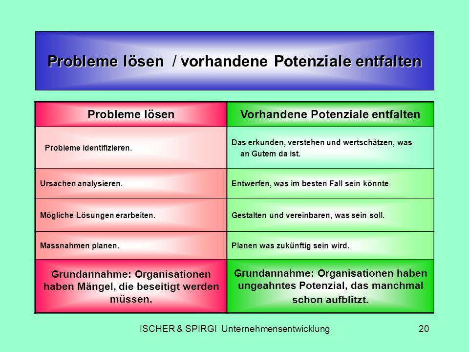 Probleme lösen / vorhandene Potenziale entfalten