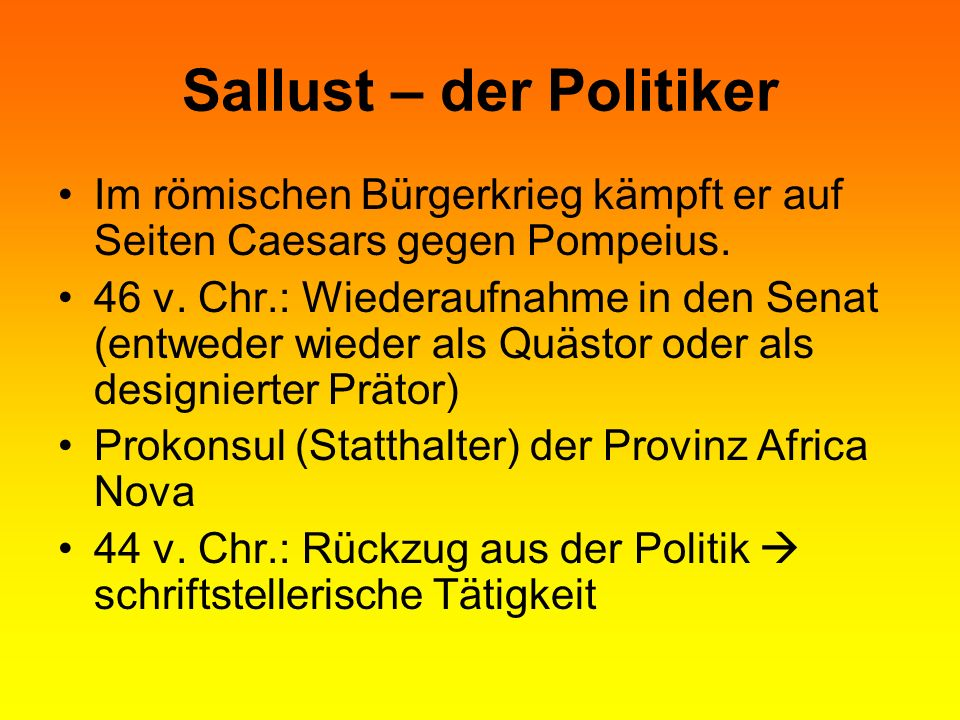Sallust – der Politiker
