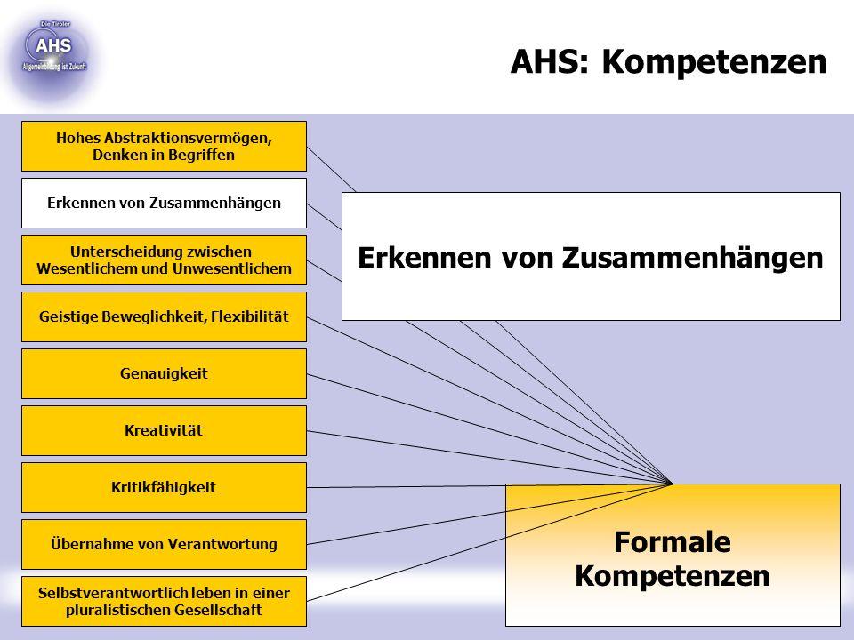 AHS: Kompetenzen Erkennen von Zusammenhängen Formale Kompetenzen