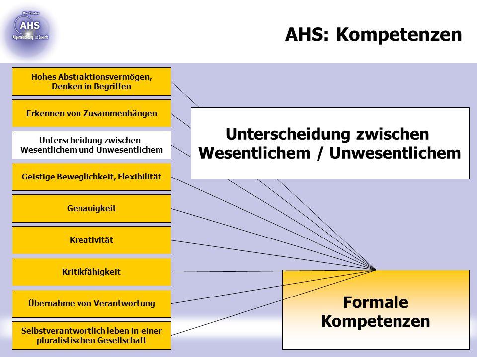 AHS: Kompetenzen Unterscheidung zwischen Wesentlichem / Unwesentlichem