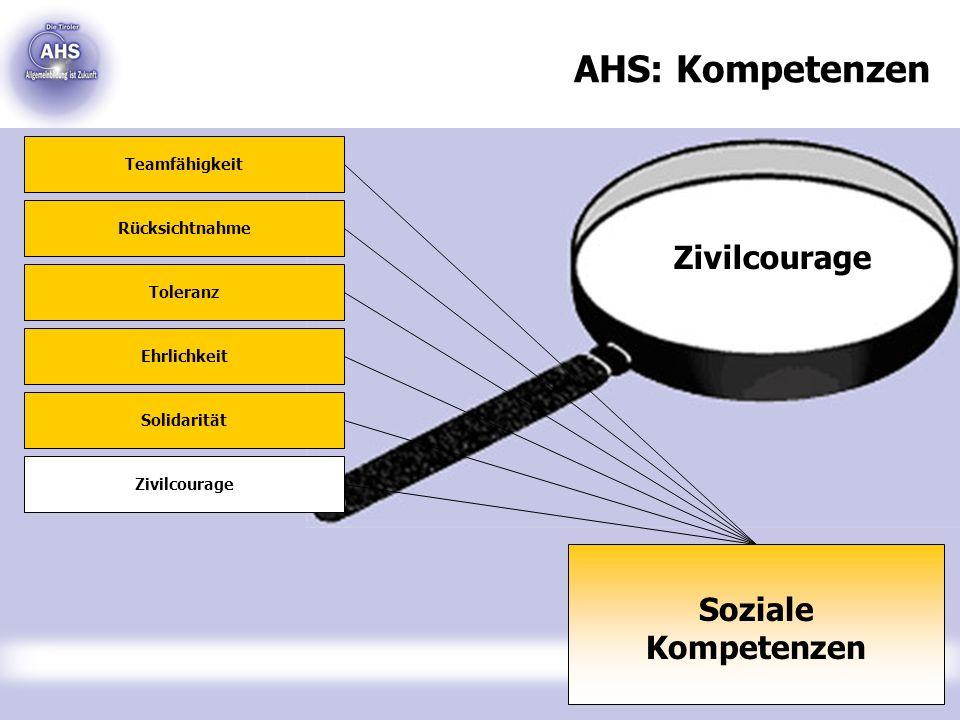 AHS: Kompetenzen Zivilcourage Soziale Kompetenzen Teamfähigkeit