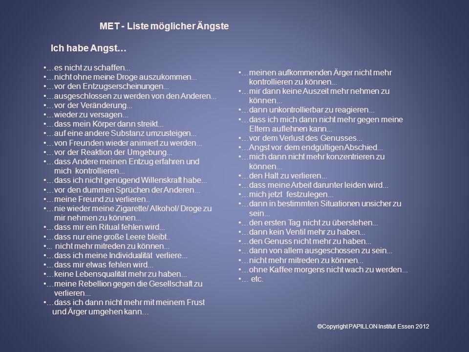 MET - Liste möglicher Ängste
