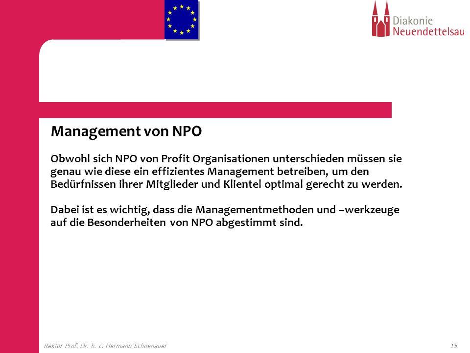 Management von NPO Obwohl sich NPO von Profit Organisationen unterschieden müssen sie genau wie diese ein effizientes Management betreiben, um den Bedürfnissen ihrer Mitglieder und Klientel optimal gerecht zu werden. Dabei ist es wichtig, dass die Managementmethoden und –werkzeuge auf die Besonderheiten von NPO abgestimmt sind.
