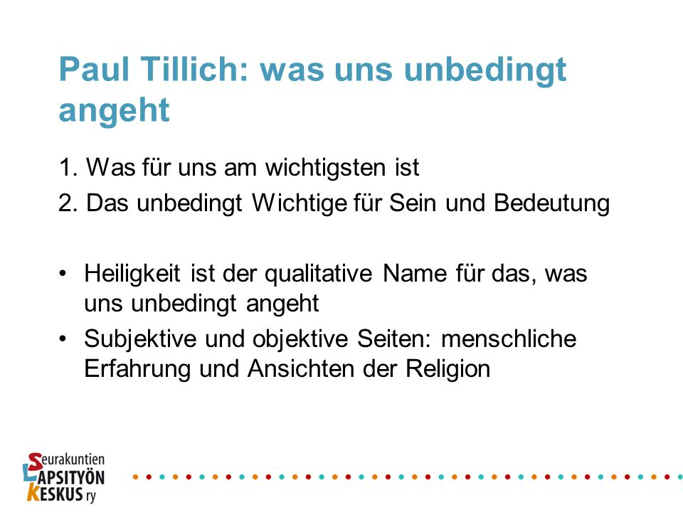 Paul Tillich: was uns unbedingt angeht
