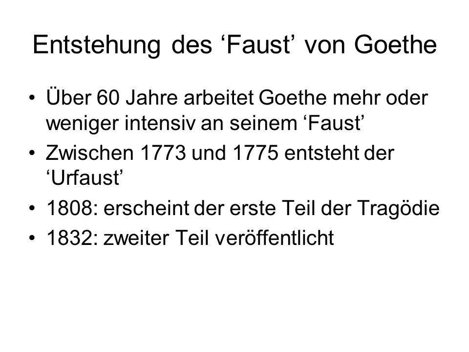Entstehung des 'Faust' von Goethe