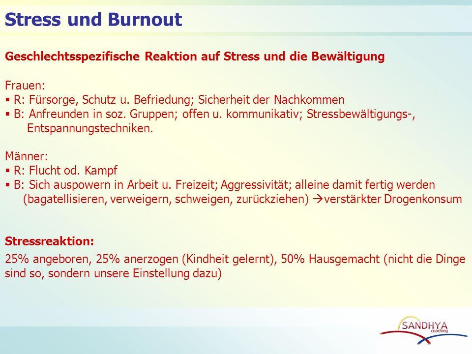 Stress und Burnout Geschlechtsspezifische Reaktion auf Stress und die Bewältigung. Frauen: