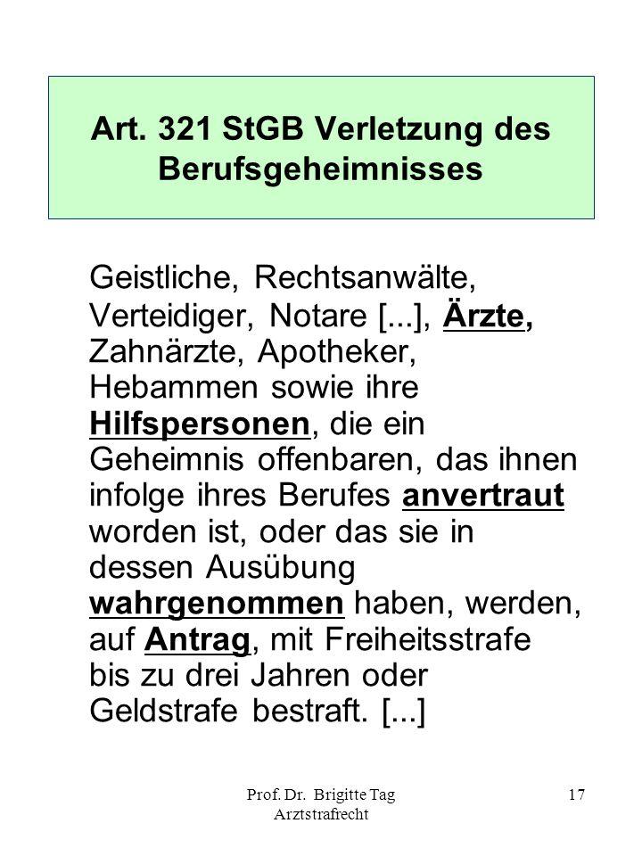 Art. 321 StGB Verletzung des Berufsgeheimnisses