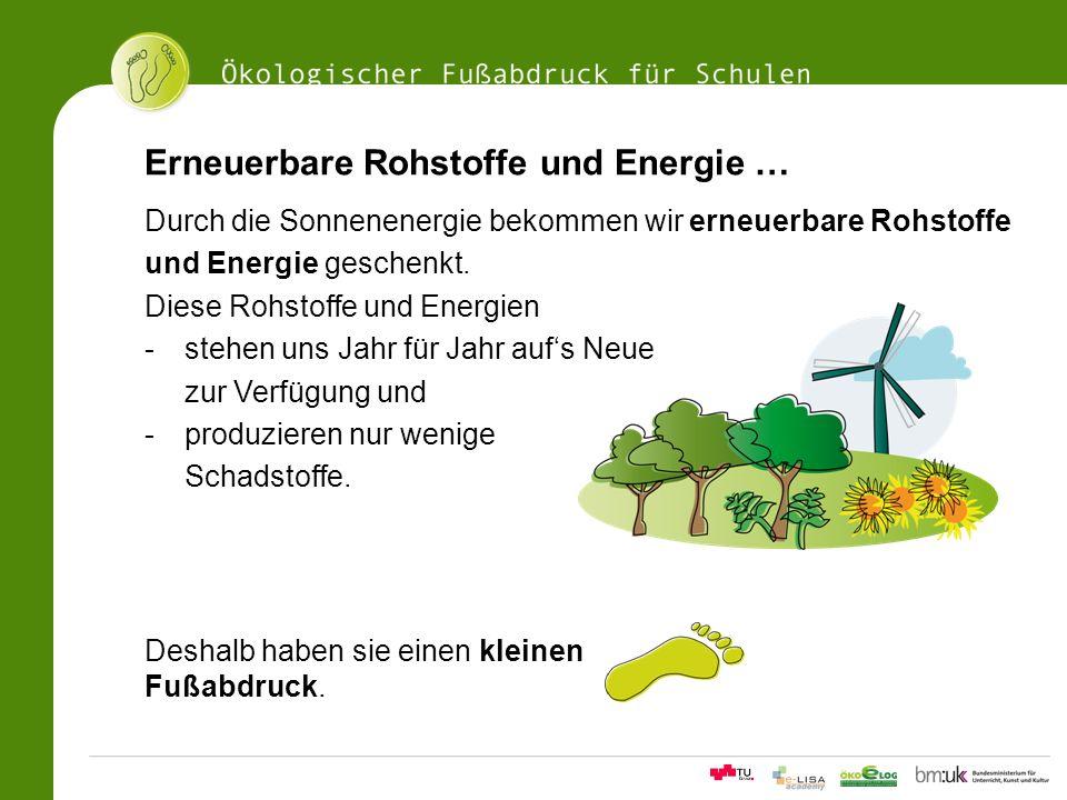 Erneuerbare Rohstoffe und Energie …