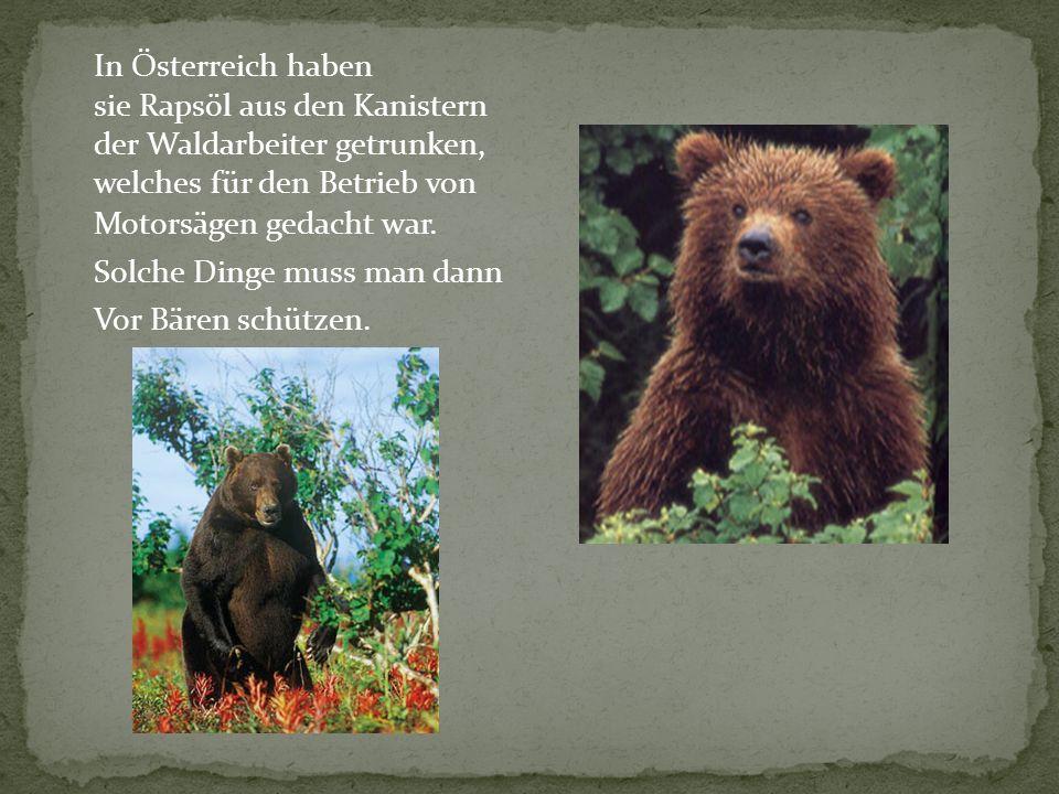 In Österreich haben sie Rapsöl aus den Kanistern. der Waldarbeiter getrunken, welches für den Betrieb von.