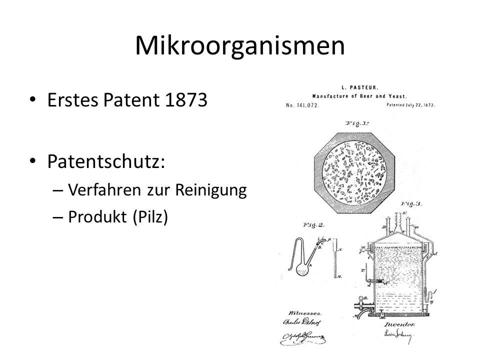 Mikroorganismen Erstes Patent 1873 Patentschutz: