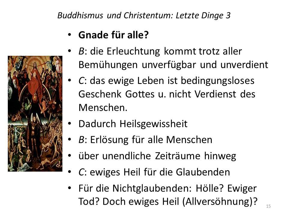 Buddhismus und Christentum: Letzte Dinge 3