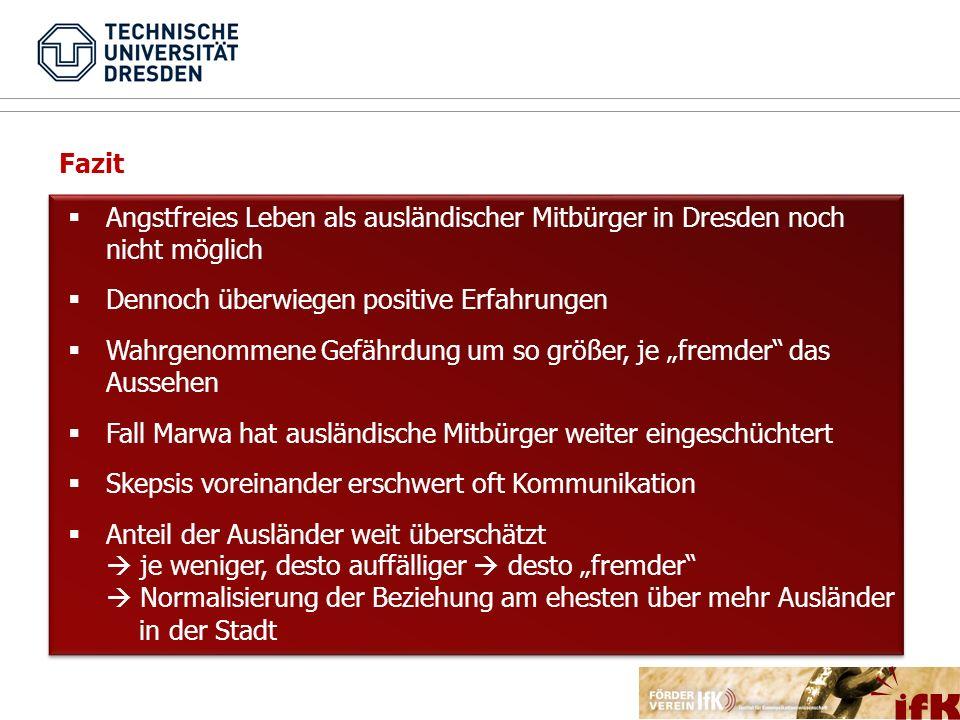 Fazit Angstfreies Leben als ausländischer Mitbürger in Dresden noch nicht möglich. Dennoch überwiegen positive Erfahrungen.