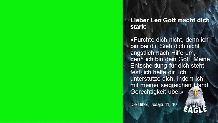 Seiteneinblender Lieber Leo Gott macht dich stark: