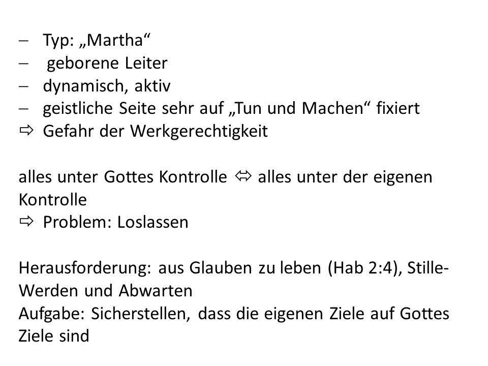 """Typ: """"Martha geborene Leiter. dynamisch, aktiv. geistliche Seite sehr auf """"Tun und Machen fixiert."""