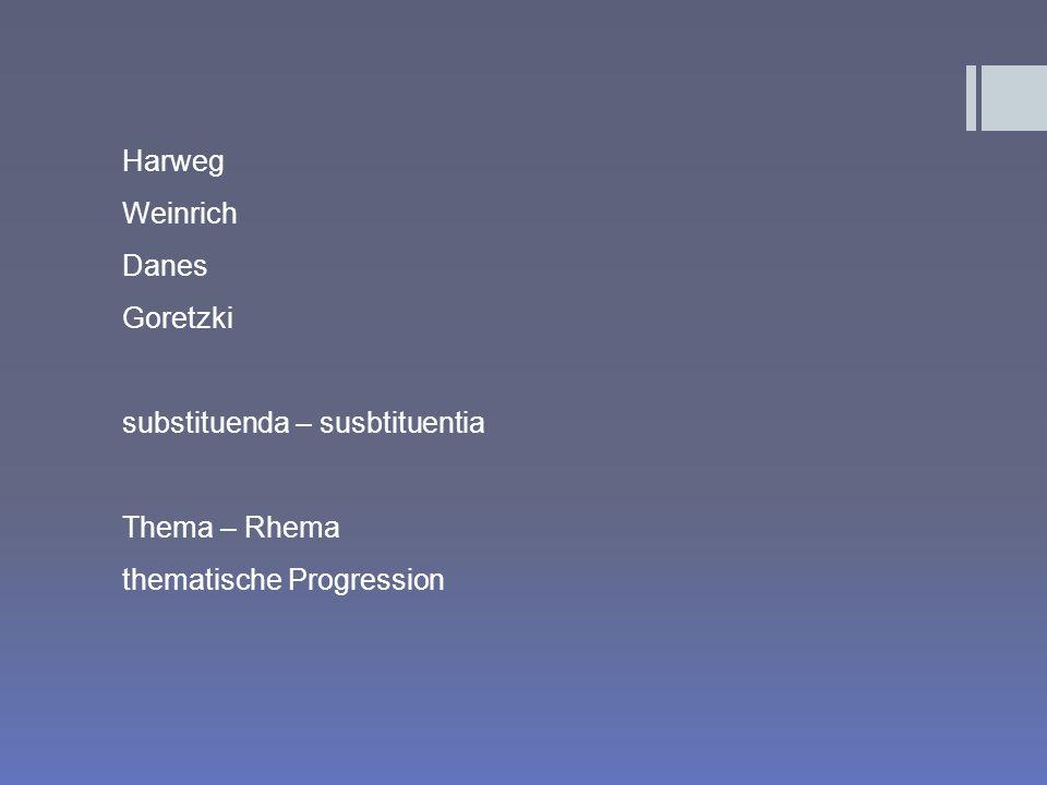 Harweg Weinrich Danes Goretzki substituenda – susbtituentia Thema – Rhema thematische Progression