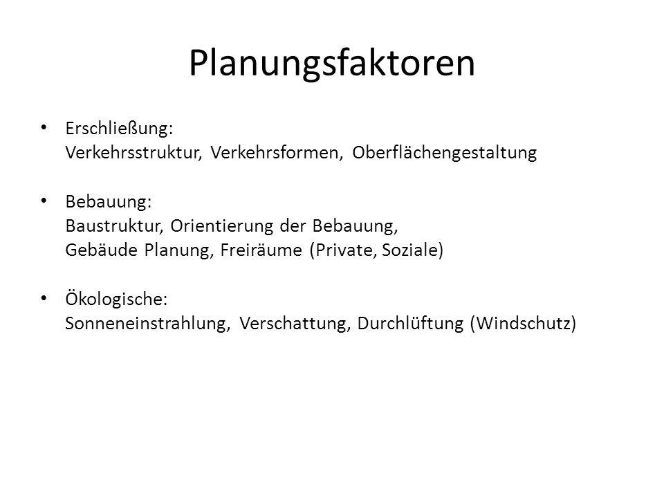 Planungsfaktoren Erschließung: