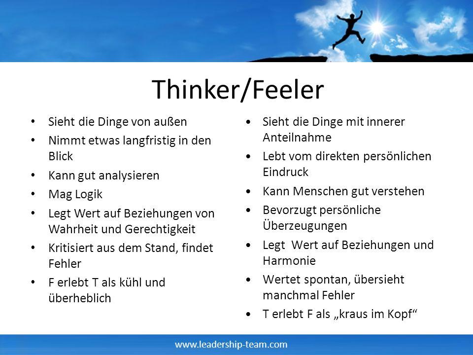 Thinker/Feeler Sieht die Dinge von außen