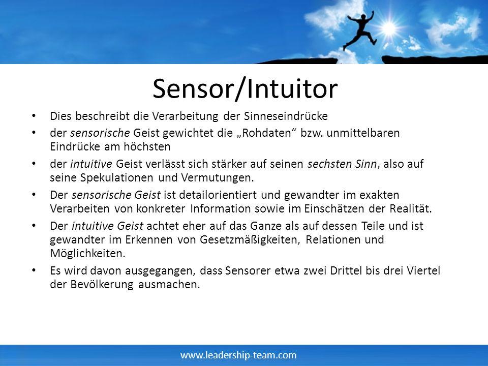 Sensor/Intuitor Dies beschreibt die Verarbeitung der Sinneseindrücke