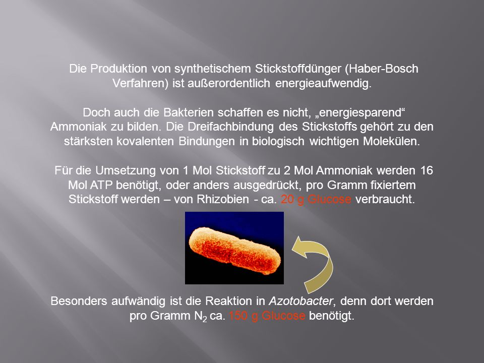 Die Produktion von synthetischem Stickstoffdünger (Haber-Bosch Verfahren) ist außerordentlich energieaufwendig.