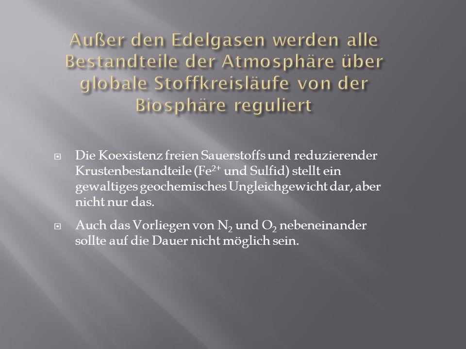 Außer den Edelgasen werden alle Bestandteile der Atmosphäre über globale Stoffkreisläufe von der Biosphäre reguliert
