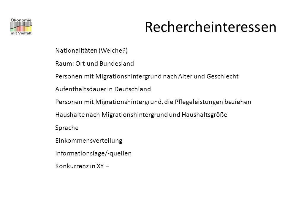 Rechercheinteressen Nationalitäten (Welche ) Raum: Ort und Bundesland