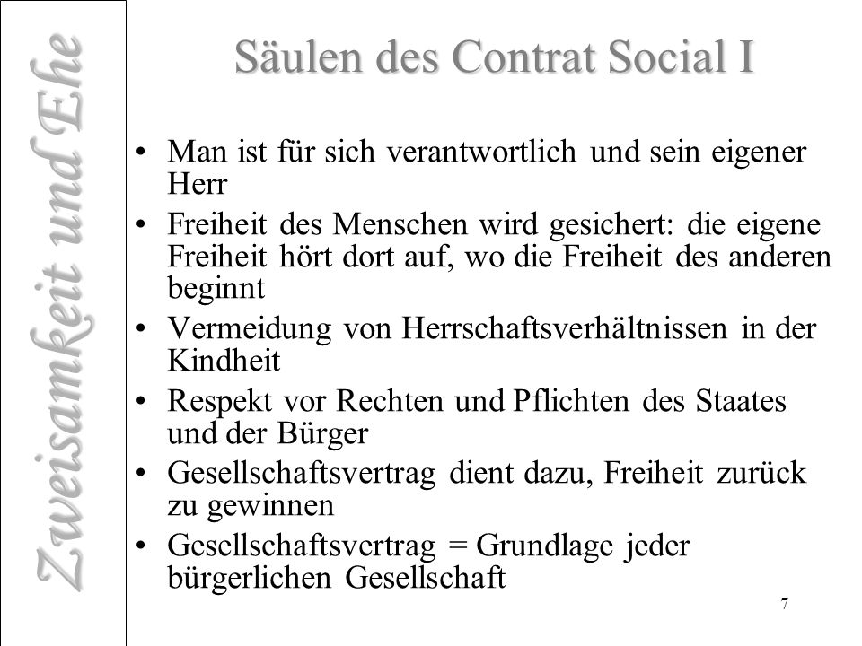 Säulen des Contrat Social I