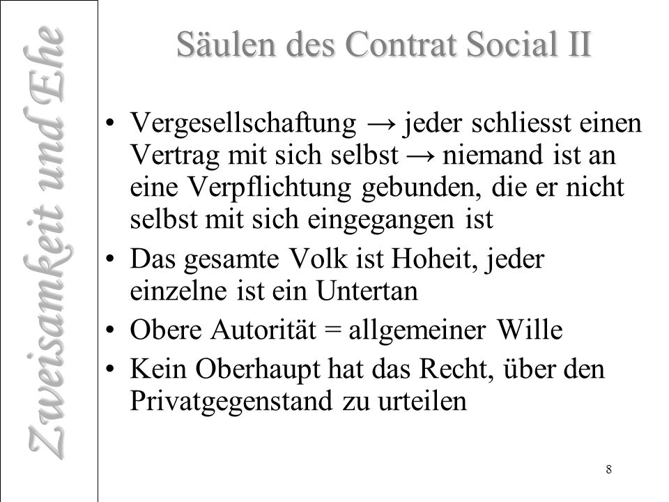 Säulen des Contrat Social II