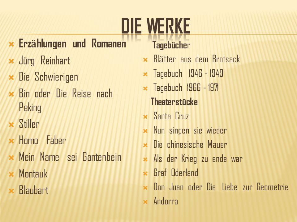 DIE WERKE Erzӓhlungen und Romanen Jürg Reinhart Die Schwierigen