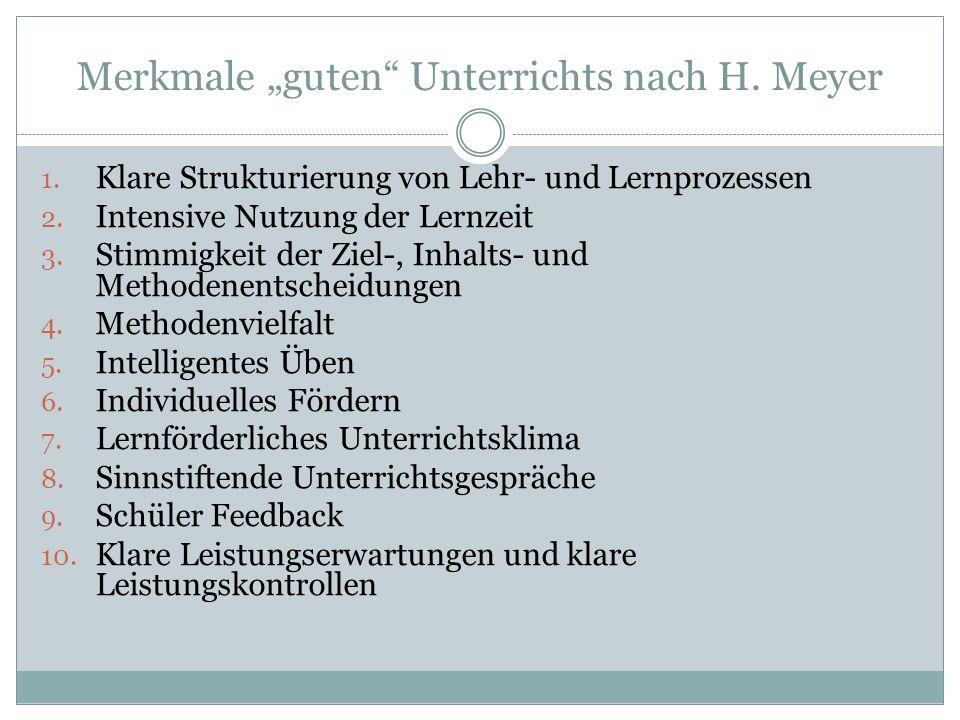 """Merkmale """"guten Unterrichts nach H. Meyer"""