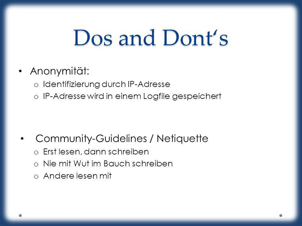 Dos and Dont's Anonymität: Community-Guidelines / Netiquette