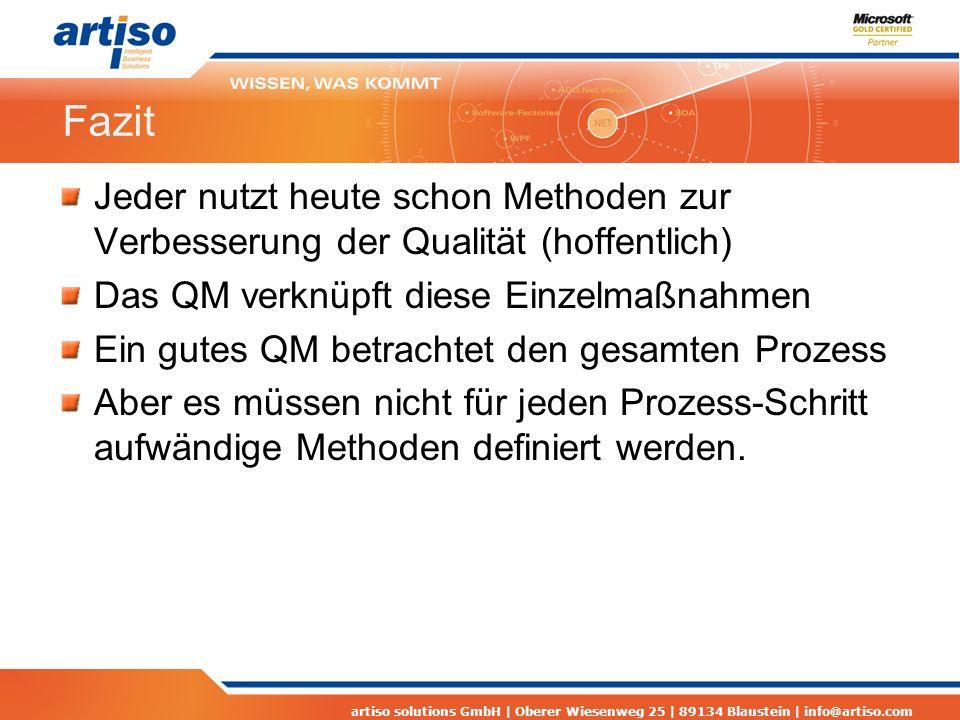 Fazit Jeder nutzt heute schon Methoden zur Verbesserung der Qualität (hoffentlich) Das QM verknüpft diese Einzelmaßnahmen.