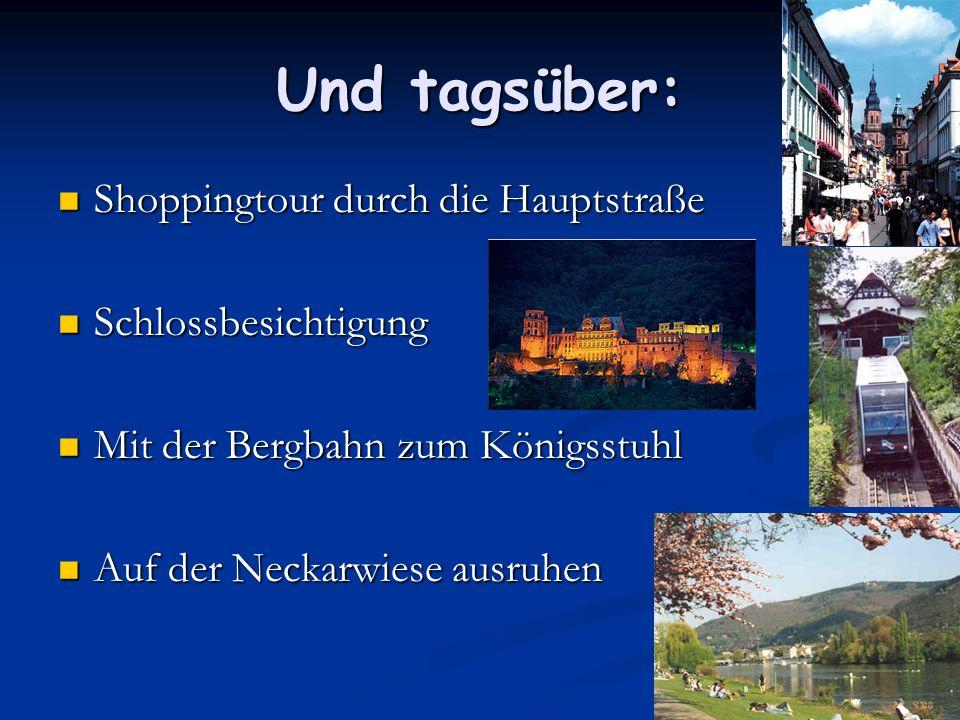Und tagsüber: Shoppingtour durch die Hauptstraße Schlossbesichtigung