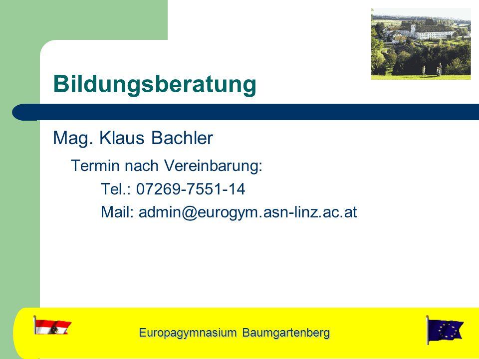 Bildungsberatung Mag. Klaus Bachler Termin nach Vereinbarung: