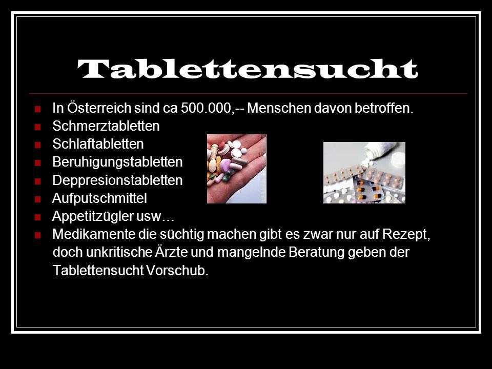 TablettensuchtIn Österreich sind ca 500.000,-- Menschen davon betroffen. Schmerztabletten. Schlaftabletten.