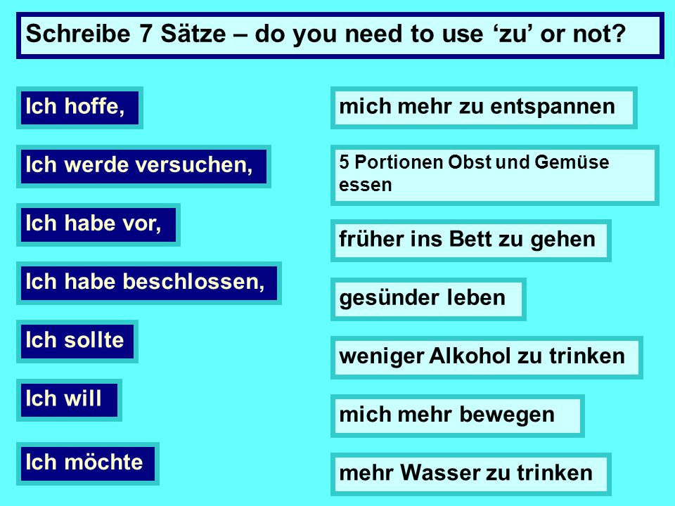 Schreibe 7 Sätze – do you need to use 'zu' or not