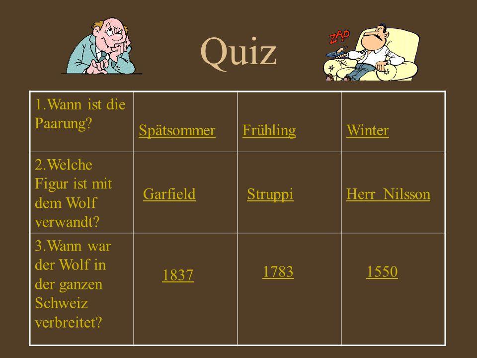Quiz Garfield Struppi 1837 1.Wann ist die Paarung Spätsommer Frühling