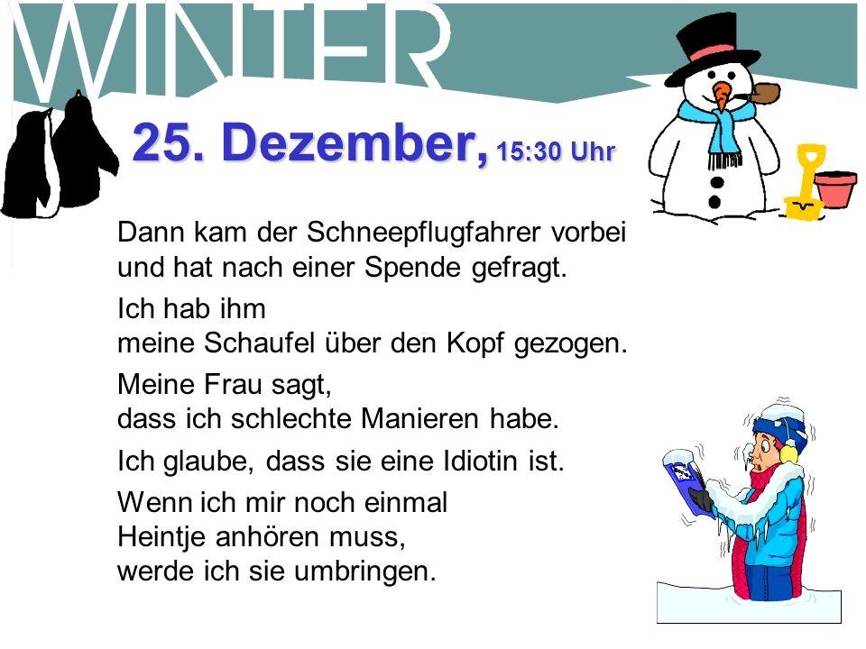 25. Dezember, 15:30 Uhr Dann kam der Schneepflugfahrer vorbei und hat nach einer Spende gefragt. Ich hab ihm meine Schaufel über den Kopf gezogen.
