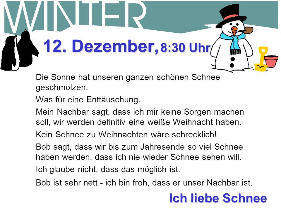 12. Dezember, 8:30 Uhr Ich liebe Schnee