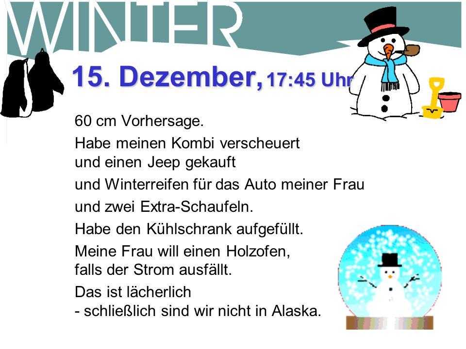 15. Dezember, 17:45 Uhr 60 cm Vorhersage.