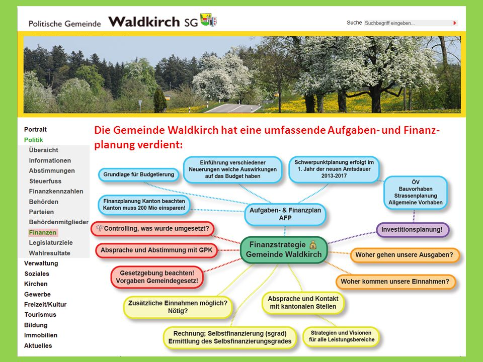 Die Gemeinde Waldkirch hat eine umfassende Aufgaben- und Finanz-planung verdient: