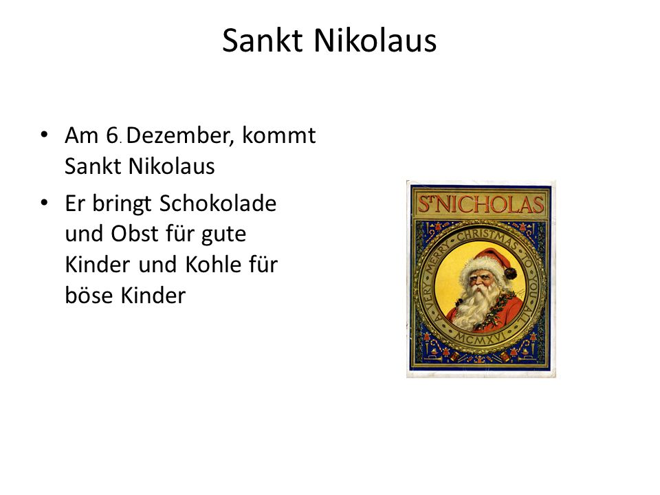 Sankt Nikolaus Am 6. Dezember, kommt Sankt Nikolaus