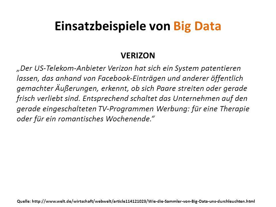Einsatzbeispiele von Big Data