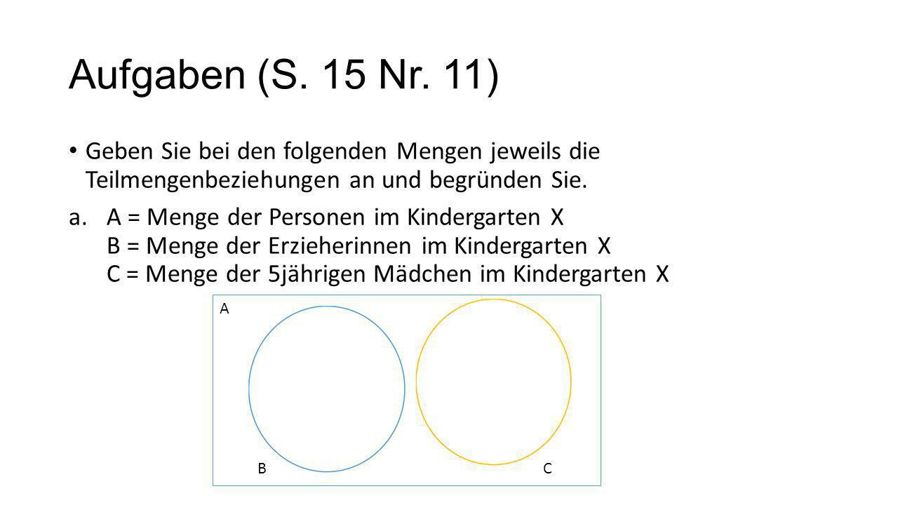 Aufgaben (S. 15 Nr. 11) Geben Sie bei den folgenden Mengen jeweils die Teilmengenbeziehungen an und begründen Sie.
