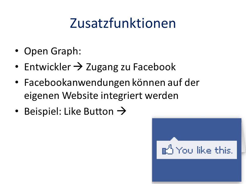 Zusatzfunktionen Open Graph: Entwickler  Zugang zu Facebook