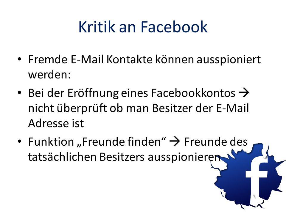 Kritik an Facebook Fremde E-Mail Kontakte können ausspioniert werden: