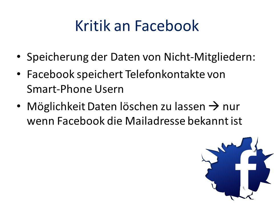 Kritik an Facebook Speicherung der Daten von Nicht-Mitgliedern: